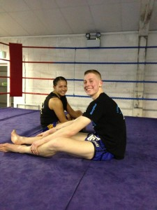 Crawley Fighters George and Janey relaxing after their last training session