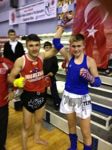 Liam with his Turkish Opponent