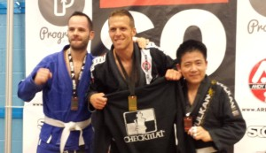 Paul taking home the gold medal for the Checkmat Brazilian Jiu Jitsu team