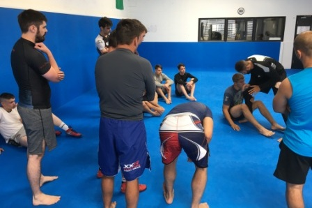 Leg lock aficionado, Frank teaching ankle locks in class