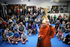 A buddhist monk opens and blesses our gym in Manor Royal