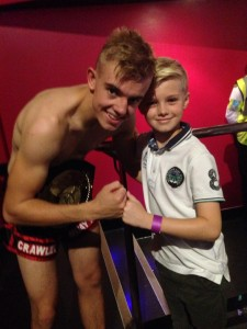 The Crawley Gym's Oscar Cutter with a Fight Fan