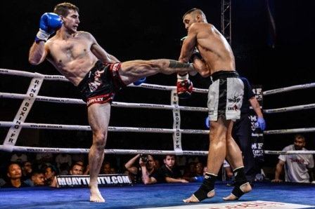 Pro-Muay Thai fighter Ben Hodge winning in France